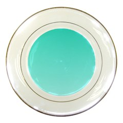 Turquoise To Celeste Gradient Porcelain Display Plate by BestCustomGiftsForYou