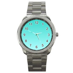 Turquoise To Celeste Gradient Sport Metal Watch by BestCustomGiftsForYou