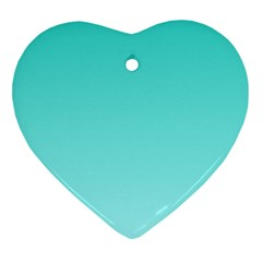 Turquoise To Celeste Gradient Heart Ornament (two Sides) by BestCustomGiftsForYou