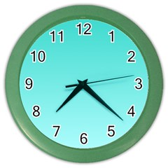 Turquoise To Celeste Gradient Wall Clock (color) by BestCustomGiftsForYou