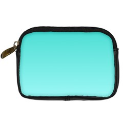 Turquoise To Celeste Gradient Digital Camera Leather Case by BestCustomGiftsForYou