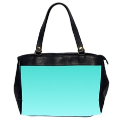 Turquoise To Celeste Gradient Oversize Office Handbag (two Sides) by BestCustomGiftsForYou