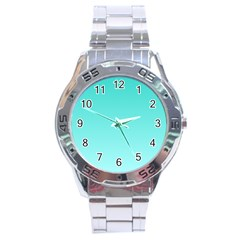 Turquoise To Celeste Gradient Stainless Steel Watch (men s) by BestCustomGiftsForYou