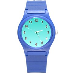 Turquoise To Celeste Gradient Plastic Sport Watch (small) by BestCustomGiftsForYou