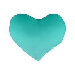 Turquoise To Celeste Gradient 16  Premium Heart Shape Cushion  by BestCustomGiftsForYou