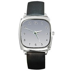 Roman Silver To Gainsboro Gradient Square Leather Watch by BestCustomGiftsForYou