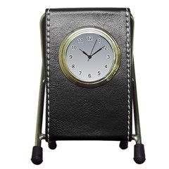 Roman Silver To Gainsboro Gradient Stationery Holder Clock