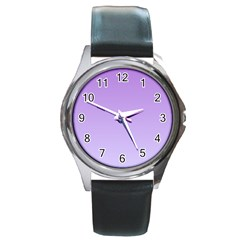 Lavender To Pale Lavender Gradient Round Metal Watch (silver Rim) by BestCustomGiftsForYou