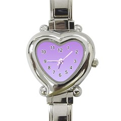 Lavender To Pale Lavender Gradient Heart Italian Charm Watch  by BestCustomGiftsForYou