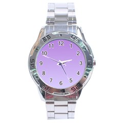 Lavender To Pale Lavender Gradient Stainless Steel Watch (men s) by BestCustomGiftsForYou