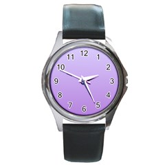 Pale Lavender To Lavender Gradient Round Metal Watch (silver Rim) by BestCustomGiftsForYou