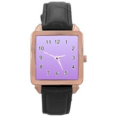 Pale Lavender To Lavender Gradient Rose Gold Leather Watch  by BestCustomGiftsForYou