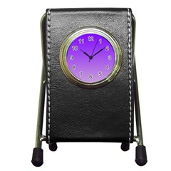 Violet To Wisteria Gradient Stationery Holder Clock by BestCustomGiftsForYou