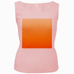 Peach To Orange Gradient Womens  Tank Top (pink) by BestCustomGiftsForYou