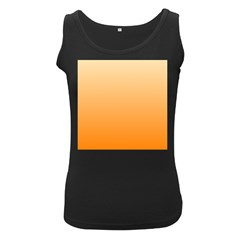 Peach To Orange Gradient Womens  Tank Top (black) by BestCustomGiftsForYou