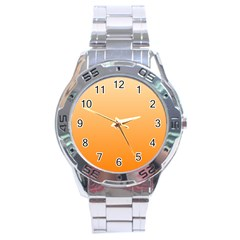 Peach To Orange Gradient Stainless Steel Watch (men s) by BestCustomGiftsForYou