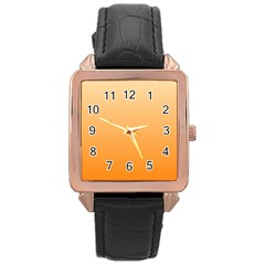 Peach To Orange Gradient Rose Gold Leather Watch  by BestCustomGiftsForYou