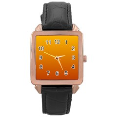Amber To Mahogany Gradient Rose Gold Leather Watch  by BestCustomGiftsForYou