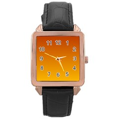 Mahogany To Amber Gradient Rose Gold Leather Watch  by BestCustomGiftsForYou