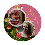 Merry Christmas Round Ornament (2 sided) - Round Ornament (Two Sides)