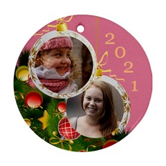 Merry Christmas Round Ornament (2 Sided) By Deborah   Round Ornament (two Sides)   Frrjwyout11w   Www Artscow Com Back