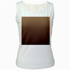 Chamoisee To Seal Brown Gradient Womens  Tank Top (white) by BestCustomGiftsForYou