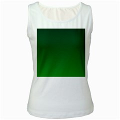 Dark Green To Green Gradient Womens  Tank Top (white) by BestCustomGiftsForYou