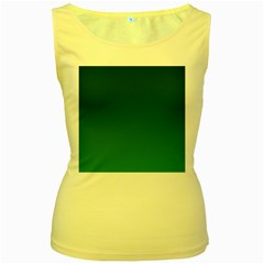 Dark Green To Green Gradient Womens  Tank Top (yellow) by BestCustomGiftsForYou