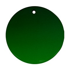 Dark Green To Green Gradient Round Ornament (two Sides)