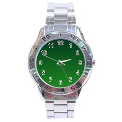 Dark Green To Green Gradient Stainless Steel Watch (men s) by BestCustomGiftsForYou