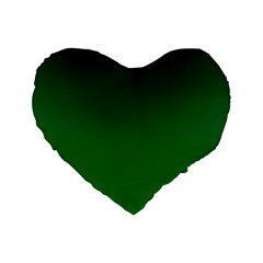 Dark Green To Green Gradient 16  Premium Heart Shape Cushion  by BestCustomGiftsForYou