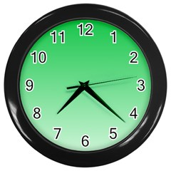 Dark Pastel Green To Pastel Green Gradient Wall Clock (black) by BestCustomGiftsForYou