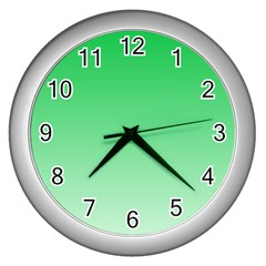 Dark Pastel Green To Pastel Green Gradient Wall Clock (silver) by BestCustomGiftsForYou