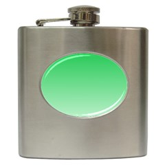 Dark Pastel Green To Pastel Green Gradient Hip Flask
