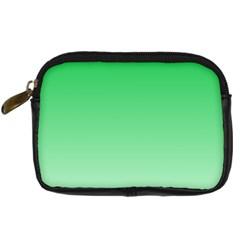 Dark Pastel Green To Pastel Green Gradient Digital Camera Leather Case by BestCustomGiftsForYou