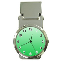 Pastel Green To Dark Pastel Green Gradient Money Clip With Watch by BestCustomGiftsForYou