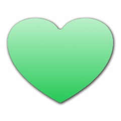 Pastel Green To Dark Pastel Green Gradient Mouse Pad (heart) by BestCustomGiftsForYou