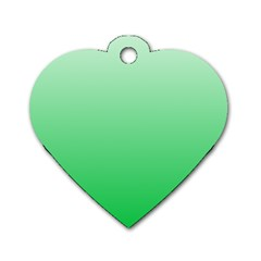 Pastel Green To Dark Pastel Green Gradient Dog Tag Heart (two Sided) by BestCustomGiftsForYou