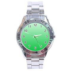 Pastel Green To Dark Pastel Green Gradient Stainless Steel Watch (men s) by BestCustomGiftsForYou