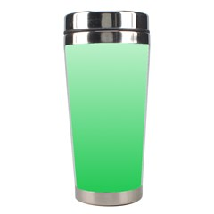 Pastel Green To Dark Pastel Green Gradient Stainless Steel Travel Tumbler by BestCustomGiftsForYou