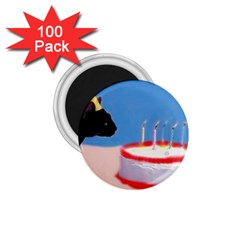 Birthday Kitty! 1 75  Button Magnet (100 Pack) by mysticalimages