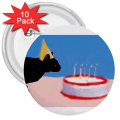 Birthday Kitty! 3  Button (10 Pack) by mysticalimages