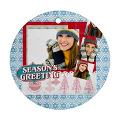 Merry Christmas By Merry Christmas   Round Ornament (two Sides)   K10gbzgj2ctu   Www Artscow Com Front