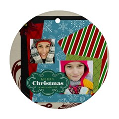 Merry Christmas By Merry Christmas   Round Ornament (two Sides)   07tm83o0t1d3   Www Artscow Com Front