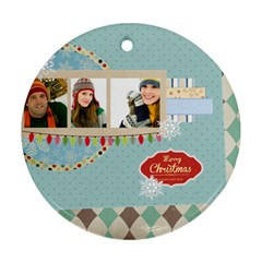 Merry Christmas By Merry Christmas   Round Ornament (two Sides)   2tu9ohcf11nq   Www Artscow Com Back