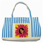 Petal Stiped Blue Tote Bag - Striped Blue Tote Bag
