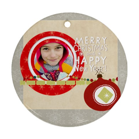 Merry Christmas By Merry Christmas   Ornament (round)   V9d9pochxzx2   Www Artscow Com Front