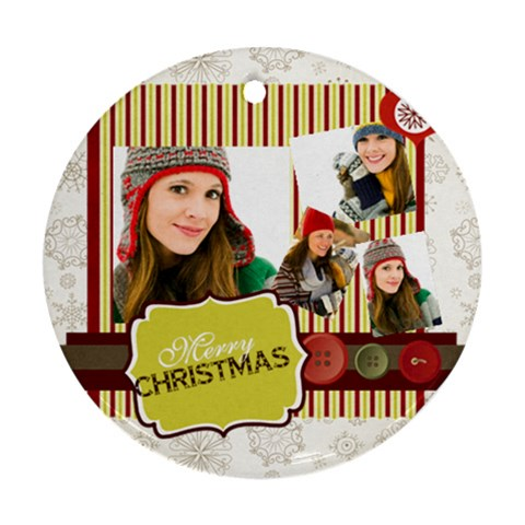 Merry Christmas By Merry Christmas   Ornament (round)   8oy8hq23ickp   Www Artscow Com Front