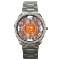 Seamless Background Fractal Sport Metal Watch by hlehnerer