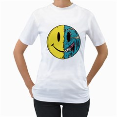 Smiley Two Face Womens  T Shirt (white) by Contest1714880